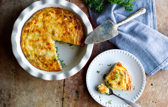 Crustless Bacon and Greens Quiche